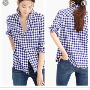 J.Crew boy shirt flannel in Brunswick blue 0